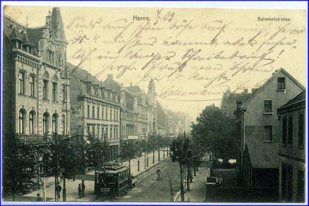 Herne Karte Stadtteile.W4690 Herne Bahnhofstrasse M Strassenbahn Gel 1903