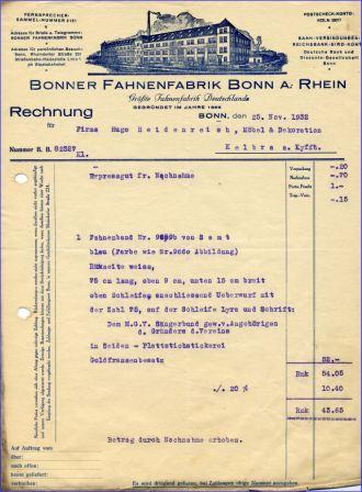 Bonn Fahnenfabrik Alte Rechnung V 1932 Alte Bundeslander Bonn Bad Godesberg W 5300