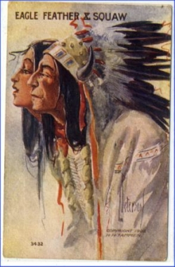Indianer, Eagle Feather X. Squaw, gel. 1915