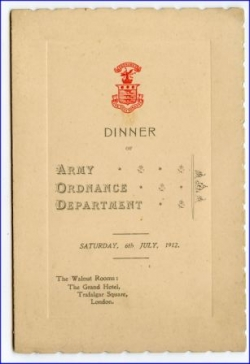 Speisekarte, Army Ordnance Dempartment, Grand Hotel London, 1912
