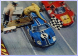 Automobil-Rennsport, Checker Flag, 3-D-Karte, um 1965 --
