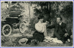Picknick m. Automobil, gel. 1909