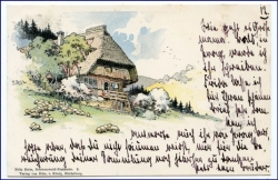 Schwarzwald-Postkarte, sign. F. Reiss, gel. 1898