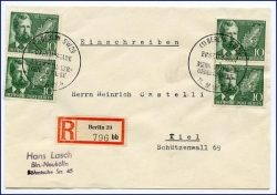 Berlin, Ottmar Mergenthaler, Brief MeF, gel. 1954 (s. Rückseite)