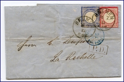 Bremen, alter Brief m. Stempel v. 1873 (Brief geknickt)