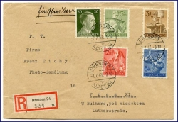 E-Brief, gel. Dresden 1943