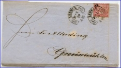 Lübeck, alter Brief von 1870 m. Hufeisenstempel --
