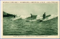 Surfing, Wellenreiten Honolulu, HAPAG-Weltreise 1929, interess. Freistempel