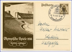 Olympiade 1936, Stempel, Berlin, Int. Kanulager Müggelsee
