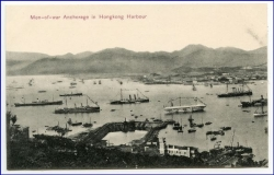 China, Hongkong, Harbour, Men-of-war Anchorage, um 1910