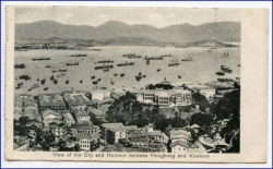 China, Hongkong, between Hongkong and Kowloon, Karte um 1910