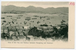 China, City and Harbour between Hongkong and Kowloon, 1912