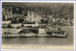 Monaco, Monte-Carlo, Panorama-Ansicht, gel. 1906