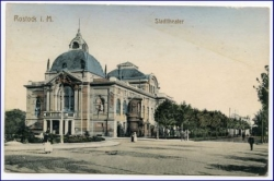 Rostock, Partie am Stadttheater, gel. 1914