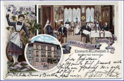 O5900 Eisenach, Restaurant Deutscher Kaiser, Lithografie, gel. 1910