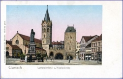 O5900 Eisenach, Lutherdenkmal, Nikolaikirche (sog. golden windows-Karte), um 1910