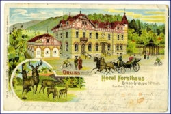 O8304 Groß-Graupa, Hotel Forsthaus, Lithografie, gel. 1899