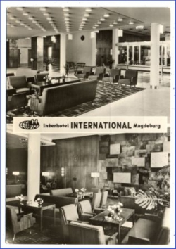 Magdeburg, Hotel International, 2 Innenansichten, 1972
