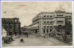 Ceylon, Sri Lanka, Colombo, Street view and Oriental Hotelt, um 1910
