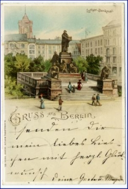 Berlin, Luther-Denkmal, Lithografie, gel. 1898 --