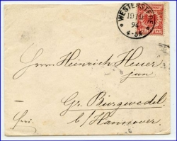 W2910 Westerstede, alter Brief m. Stempel v. 1894
