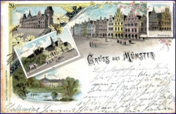 W4400 Münster, Lithografie, gel. 1899