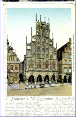 W4400 Münster, Rathaus, sog. Golden Windows Karte, gel. 1903