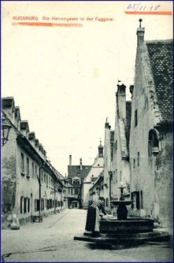 Augsburg, Herrengasse in der Fuggerei, gel. 1910